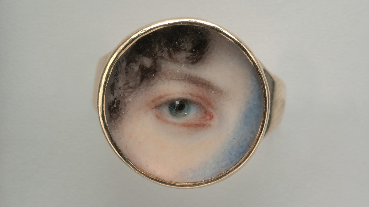 A watercolor painting of an eye on an ivory ring, by Edward Greene Malbone.
